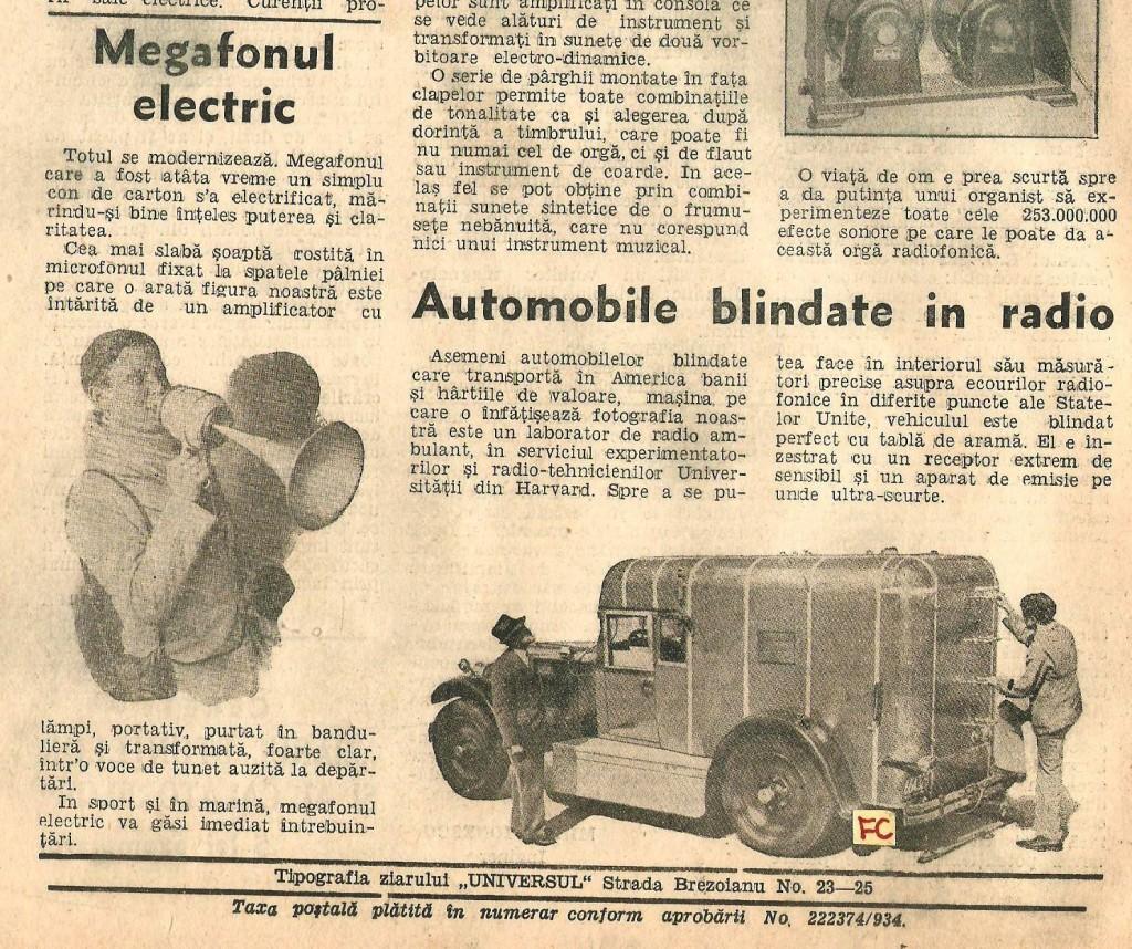 ultima pagina Radio Universul 30iunie-6 iulie 1935nr 37 5 lei